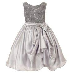 Amazon.com: Kids Dream Girl 6 Silver Rosette Satin Pick Up Flower Girl Dress: Kids Dream: Clothing
