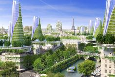 Fantasy architecture imagines an ecologically pioneering Paris in the year 2050