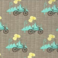 Bluebird Park Lamp Post Bicycle Grey by Kate & Birdie for Moda #13103-16