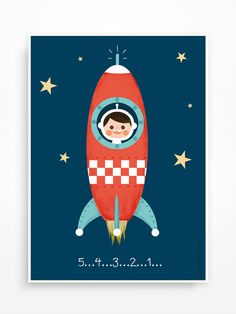 Affiche pour chambre d'enfant ou bébé  * La tête dans les étoiles *