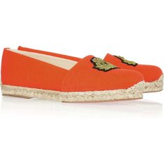 Christian Louboutin Galia canvas espadrilles ($345) ❤ liked on Polyvore featuring shoes, sandals, christian louboutin, flats, espadrilles, flat shoes, orange, flats sandals, canvas flats and espadrille flats