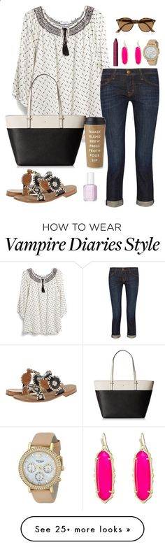 vampire diaries marathon // day 280 by littlebitofeverything on Polyvore featuring MANGO, Kate Spade, Current/Elliott, Jack Rogers, tarte, Kendra Scott, Essie and Ray-Ban