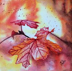 """Aquarelle """"Le trésor automnal"""", peinture originale, aquarelle d'automne, rouge orange lumière"""