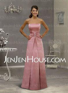 Bridesmaid Dresses - $97.99 - Graceful A-Line/Princess Strapless Floor-Length Satin Bridesmaid Dress with Ruffle (007001049) http://jenjenhouse.com/A-line-Princess-Strapless-Floor-length-Satin-Bridesmaid-Dress-With-Ruffle-(007001049)-g1049
