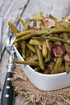 Slow Cooker Green Beans, Turkey Ham and Potatoes