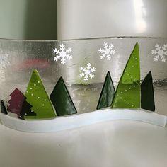 Christmas Tree fused glass wave panel ❤️