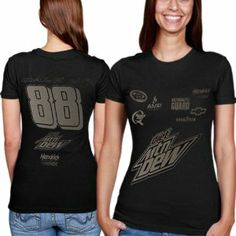 NASCAR Dale Earnhardt Jr. Ladies Ghost Uniform T-Shirt - Black (X-Large) by The Game. $24.95. Thereâ?TMs a phenomena that escapes science's current ability to explain or measure: Dale Jr.â?TMs driving. Dale Earnhardt Jr. Ladies Ghost Uniform T-Shirt - Black100% CottonOfficially licensed NASCAR productTagless collarScreen print graphicsImportedSlim fitRib-knit collar100% CottonSlim fitTagless collarScreen print graphicsRib-knit collarImportedOfficially licensed NASCAR product