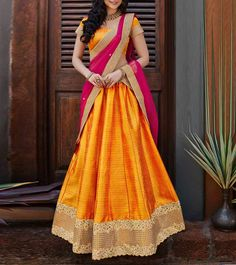 Lehenga Designs For Your Fashionable Ethnic Look Lehenga Designs, Half Saree Designs, Blouse Designs, Half Saree Lehenga, Silk Lehenga, Anarkali, Orange Lehenga, Banarasi Sarees, Churidar