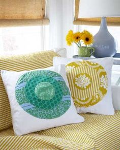 DIY Throw Pillows--beginner level  Turn plain white pillows into an expression of personal style.