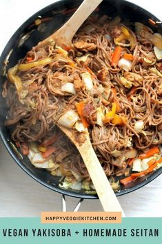 A healthy vegetarian and vegan yakisoba recipe, packed full of stir fried veggies and noodles with a quick and easy homemade seitan mock duck. I'll show you how to make mock duck from scratch, with step by step photos - it's easier than you think! #vegan #veganrecipes #vegetarian #vegetarianrecipes #noodles #asianrecipes via @happyveggiekitchen