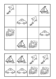 Free Puzzles For Kids, Worksheets For Kids, Kindergarten Math, Preschool Activities, Sudoku Puzzles, Perception, Transportation, Teaching, Ulice