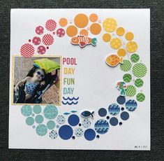 Circle Scrapbook, Beach Scrapbook Layouts, Baby Girl Scrapbook, Album Scrapbook, Scrapbook Layout Sketches, Scrapbook Designs, Scrapbook Paper Crafts, Scrapbooking Layouts, School Scrapbook