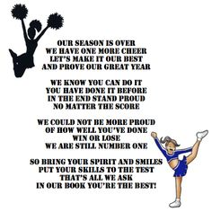 To all the Saltsburg elementary cheerleaders we will always be champs we went to be the best and we beat the best thanks for a great year luv all of you Emily