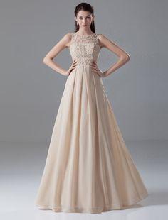Champagne A-line Beading Jewel Chiffon Floor-Length Evening Dress