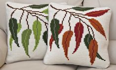 Seasonal Leaves Cushion Front Chunky Cross Stitch Kit | sewandso