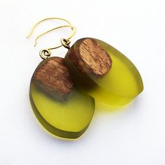 Resin & Wood Jewellery, Olive Green Earrings, Wooden Earrings, Minimalist Jewellery, Statement Earrings, Modern Jewellery, Wooden Jewellery - pinned by pin4etsy.com