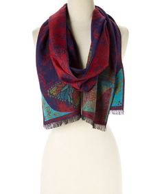 Loving this Purple & Maroon Geometric Cashmere Scarf on #zulily! #zulilyfinds