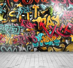 """Wall Mural """"graffiti, wall, art - graffiti on wall"""" ✓ Easy Installation ✓ 365 Days Money Back Guarantee ✓ Browse other patterns from this collection!"""