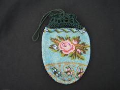 Victorian Beaded Drawstring Handbag Purse Roses #Drawstring