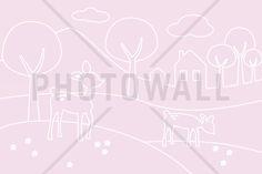 Deer World Lines - pink - Fototapeter