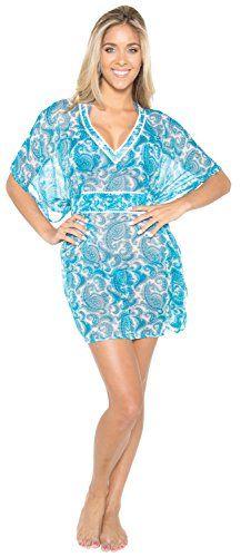 0fdeb33089 Women s Beachwear Swimsuit Swimwear Dress Cover up Blue One Size US   10 -  16 at Amazon Women s Clothing store