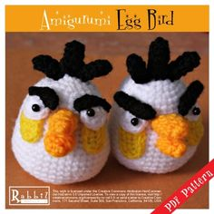 PDF Pattern - Amigurumi (Crocheted Doll) Angry Birds Egg Bird (HQ) Available on: Rabbiz Design Store