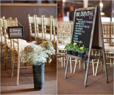 I love the idea of having little chalkboard snippets of 1 corinthians 13 on the chairs...what a cool idea
