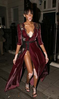 Model Winnie Harlow rocks the velvet trend this AW out in London