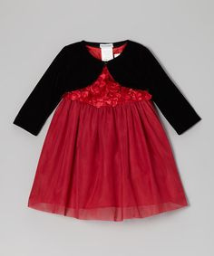 Take a look at this Red & Black Rosette Tulle Dress & Bolero - Infant by Joe-Ella on #zulily today!