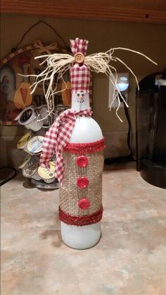 Wine bottle snowman