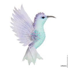 Купить Брошь-колибри «Лаванда». Шёлковая парящая птичка. - брошь птица, украшение для прически