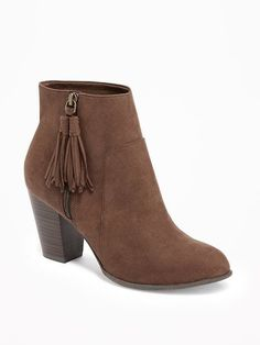 Sueded Tassel-Zip Ankle Boots for Women