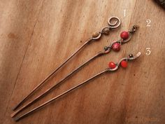 Rustic hair sticks made in three similar variations. Youll receive one hair stick (you chose style from drop down menu). Hair sticks are made of sturdy copper wire, thickness 13 gauge (2,2 mm). Copper was tarnished so it has rustic feel to it. Hair pin no 1. is embellished with