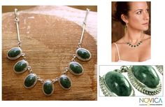 Novica Eternal Love Green Jade Oval Gemstones in Rope Bezels Center this 925 Sterling Silver Classic Womens Collar Necklace