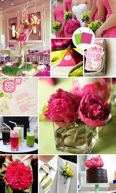 Bright pink & grassy green