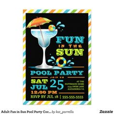 Adult Fun Sun Cocktails Summer Party Invitation Finished pool: the quick P. Retirement Party Invitations, Pool Party Invitations, Zazzle Invitations, Invitation Cards, Invites, Cocktail Party Invitation, 31st Birthday, Birthday Ideas, Hubby Birthday