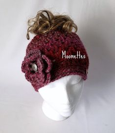 f3252beaf4e64 Crochet Messy Bun Hat Ponytail Nordic Heather Cranberry Pink Rose Beanie  Pewter Button Handmade