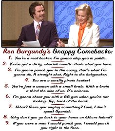 Ron Burgundy quotes, love that movie ANCHORMAN! Maybe I should start using these with the coworkers that say my insults are horrible. Ron Burgundy Quotes, Movie Quotes, Funny Quotes, Funny Memes, Book Quotes, Just For Laughs, Just For You, Snappy Comebacks, Minions