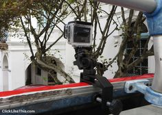 Pedco ultra clamp mount for GoPro - clamped on the front of a double-decker city tour bus in Cuenca, Ecuador.
