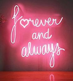 Forever And Always Neon Sign Real Neon Glass Tube Light for Sale - Hanto Neon Sign – Hanto neon sign Bedroom Wall Collage, Photo Wall Collage, Picture Wall, Pink Wallpaper Iphone, Iphone Wallpaper Tumblr Aesthetic, Aesthetic Wallpapers, Neon Signs Quotes, Neon Words, Whatsapp Wallpaper
