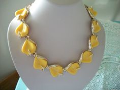 Yellow Leaf Choker Necklace by IsabelsVintage on Etsy