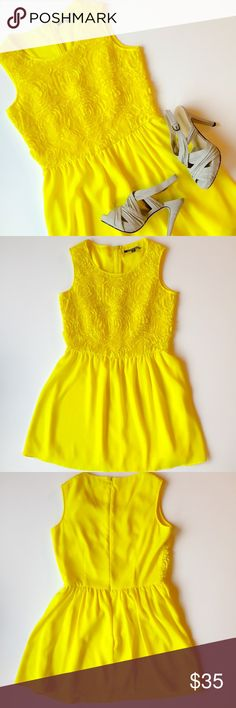 SALE: ✨Host Pick✨ Yellow Sun Dress Gianni Bini yellow sundress with floral detailing on top. Size XS. Heels available in a separate listing. ✨Statement Style Party Host Pick 8/8/16 ✨ Gianni Bini Dresses