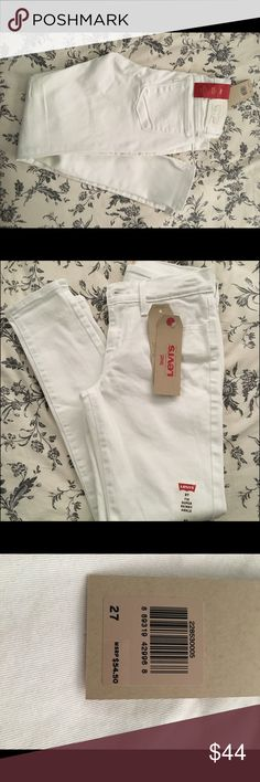 "White Levi's These classic white pants are beautiful when paired with any top! Selling because I have too many pants. ""Mid rise"" jeans   🔸New  🔸With tags  🔸Same day package drop off  🔸10% discount when you buy 2 or more items.   🔹No Trades Levi's Jeans Skinny"