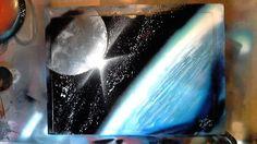 Earth&Moon - Spray Paint Art by René Schell