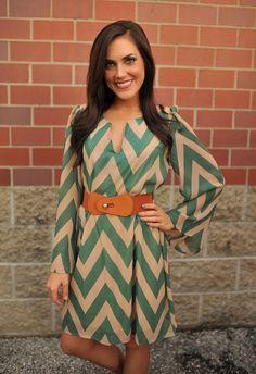 Chevron Belted Dress - Dottie Couture Boutique