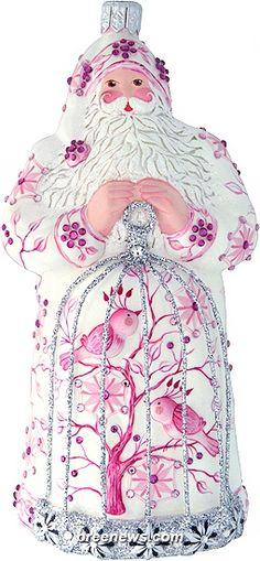 Songbird Santa (Pink) Patricia Breen (Birds, Chinoiserie, Enamel, Flowers, Pink, Spring, Ornament)