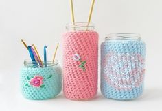 Check out these cute jar cozies from Little Things Blogged. It's great if you love upcycling and like to keep glass jars around for future unnamed projects.