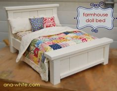 Ana White- tutorial to make this cute farmhouse doll bed for American girl dolls American Girl Furniture, Girls Furniture, American Girl Doll Bed, Diy Furniture Plans, Barbie Furniture, Furniture Projects, American Girls, Diy Projects, Wood Furniture