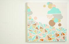 Geometric paper colorful DIY canvas