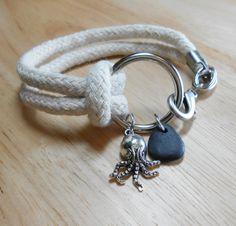 Beach Stone Bracelet  Nautical Ring Jewelry  TRAVELLER